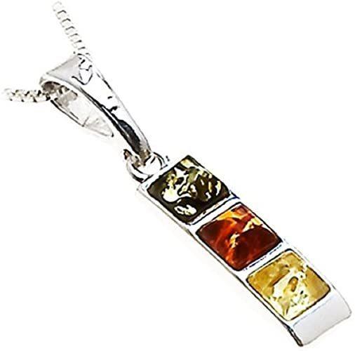 Multicolor Amber Sterling Silver Very Small Pendant Chain 18