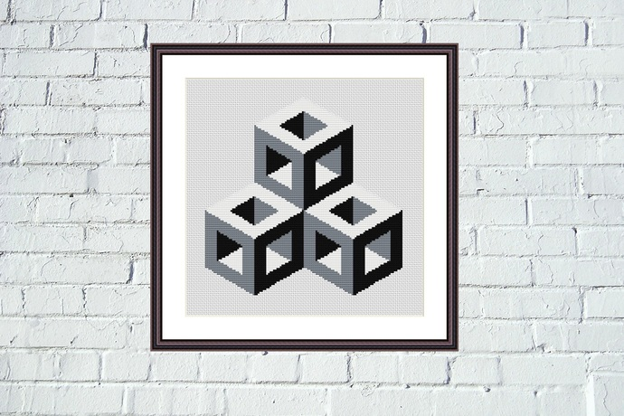 Black and white embroidery Cubes optical illusion