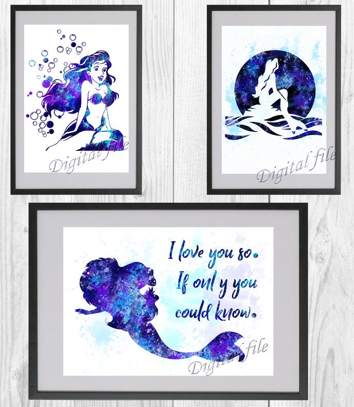 Little Mermaid Set Disney, Ariel print, poster, home decor, nursery room, wall