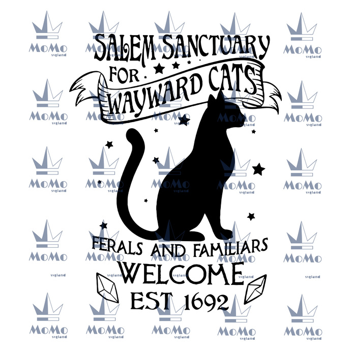Salem sanctuary for wayward cats, ferals and familiars, welcome, est 1692, black