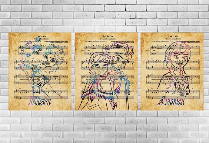 Frozen Music Set, Disney, Elsa print, Anna poster, print, home decor, nursery