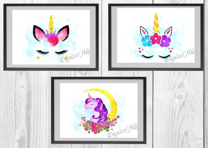 Unicorn Set, Unicorn print, poster, home decor nursery room, wall decor,