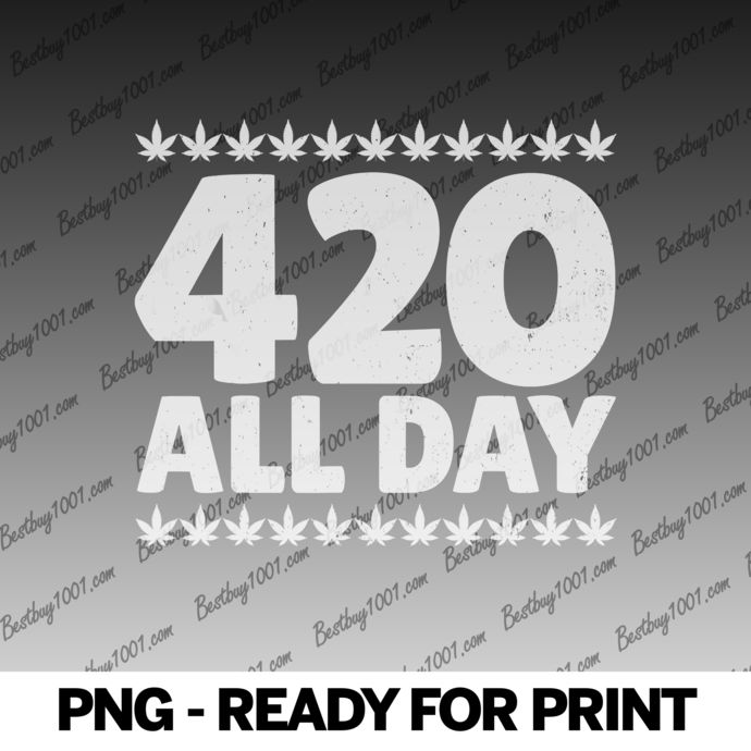 420 Shirt Smoking Weed All Day w Marijuana Indica Pot Leaf0