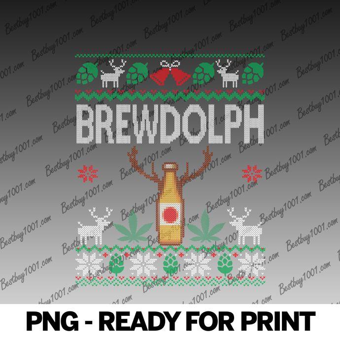 Brewdolph Beer and Weed Cannabis Marijuana Ugly Christmas png