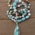 Enchanting & soothing Gem Silica Long Beaded Necklace with Pendant Hand Knot
