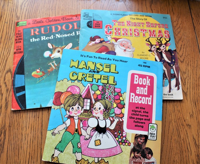1971 Hansel & Gretel Book and Record 1958 Rudolph the Red Nosed Reindeer Book