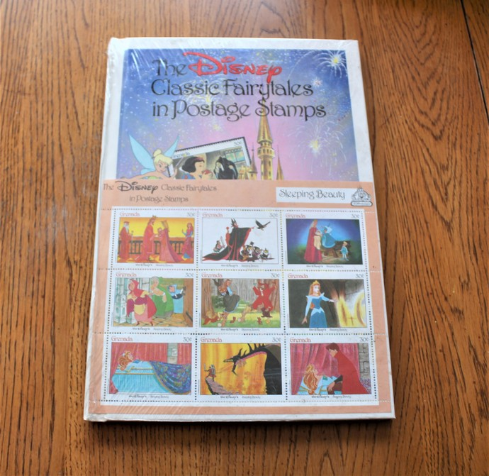 Disney Classics Fairy tales Sleeping beauty postage stamps with book