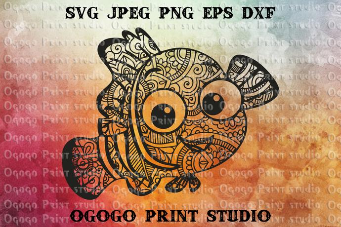 Nemo Svg, Fish Svg, Disney Svg, Zentangle SVG, Mandala svg, Paper cutting,