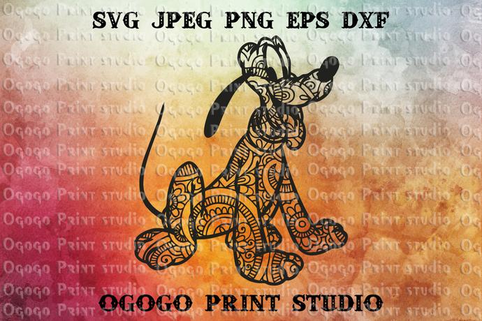 Pluto Svg, Dog svg, Disney Svg, Zentangle SVG, Mandala svg, Paper cutting,