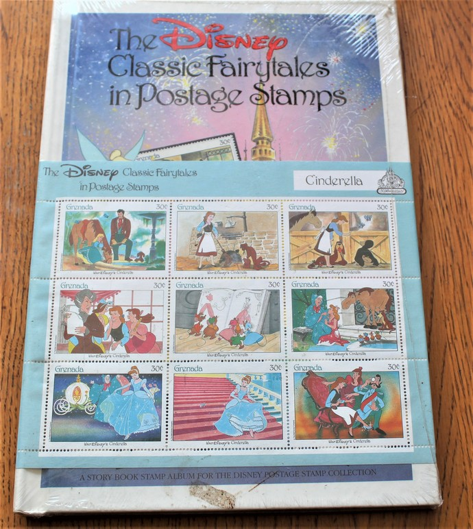Disney Classics Fairy tales Cinderella postage stamps with book New Unopened-