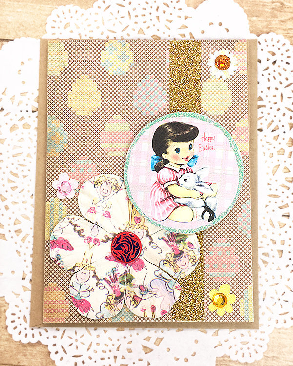Little Girl with Bunny Easter Greeting Card, Pastel, Sparkle, Flowers,