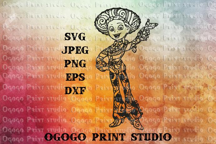 Jessie Svg, Toy Story Svg, Zentangle SVG, Mandala svg, Paper cutting, Vector,