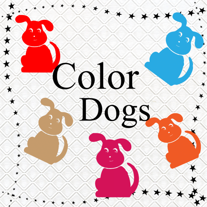 Color Dogs 1-Digital Clipart-Art Clip-Gift Cards-Banner-Gift Tag-Jewelry-T