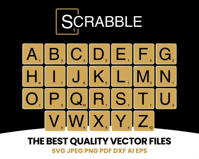 Scrabble tile SVG, scrabble sticker svg, scrabble dxf file,  scrabble alphabet