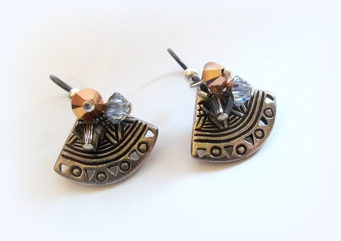 Tri-Metal Fan Earrings