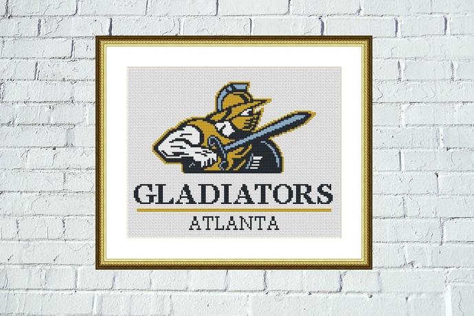 Atlanta Gladiators logo cross stitch hand embroidery