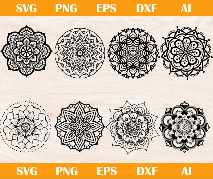 Mandala svg, Mandala png, Mandala silhouette, Mandala cricut, Mandala cameo,