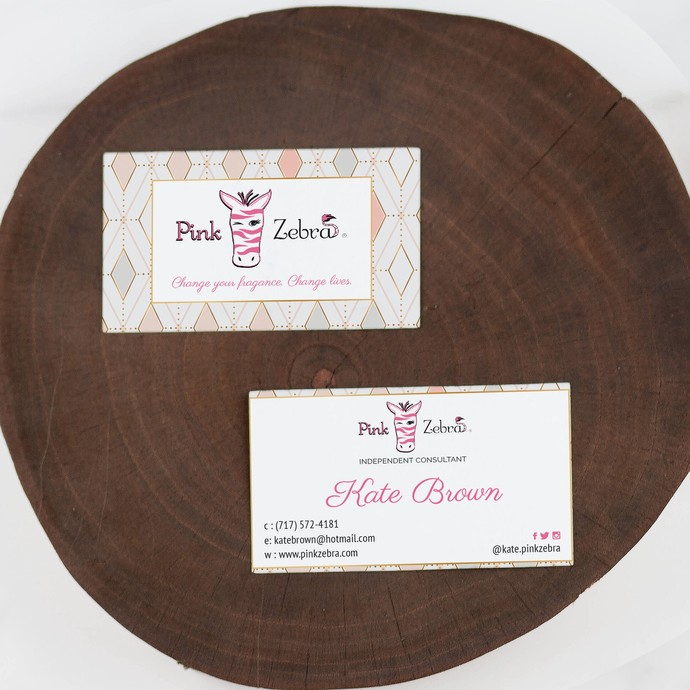 Pastel Personalized Pink Zebra Business Cards, Zebra Business Card PZ03