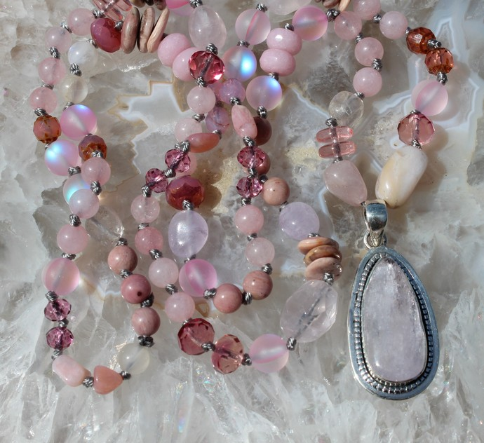 Natural Pink Kunzite Long Beaded Necklace with Pendant Pink jewelry by KnottedUp
