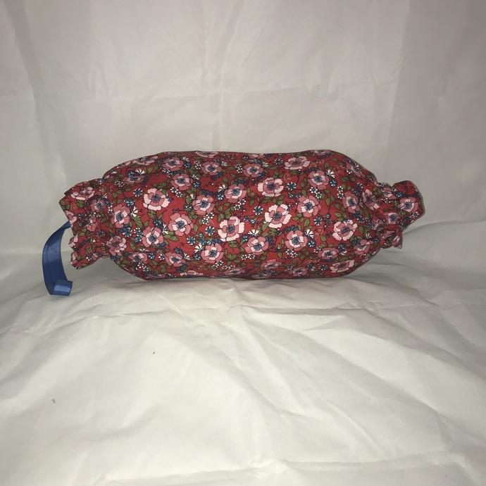 Red Floral Plastic Bag Holder