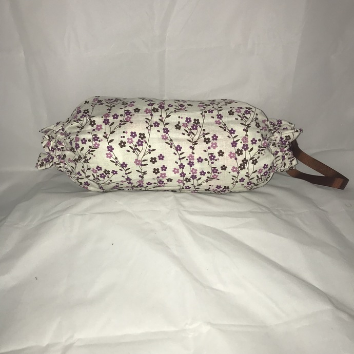 Purple Flowers on White Background  Plastic Bag Holder