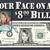 Your Face on an $8 Dollar Bill 8th Birthday Anniversary Wedding Eight Eighth