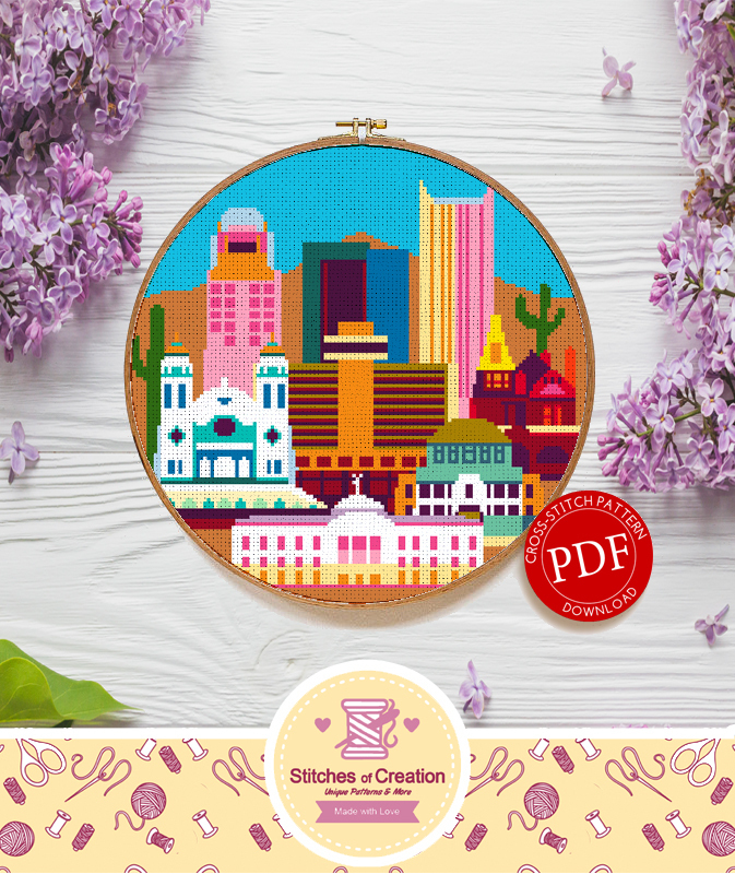 Phoenix Arizona | Digital Download | Cross Stitch Pattern  |