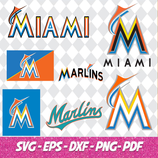 Miami Marlins Cut Files, SVG Files, Baseball Clipart, Cricut Florida Marlins