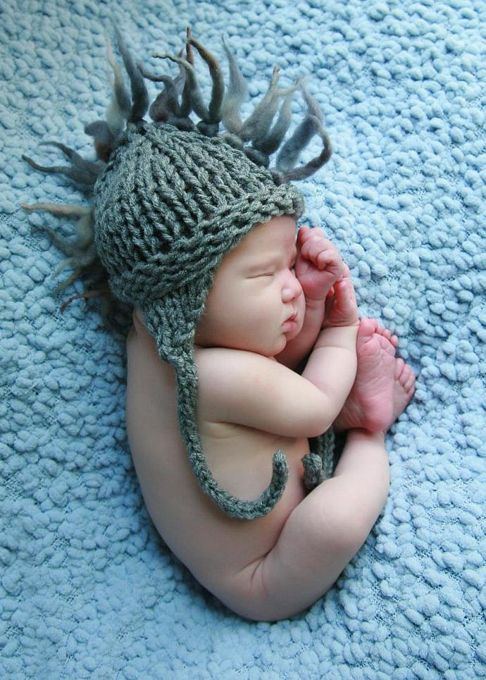 Custom Order Newborn Faux Hawk Earflap/Aviator Hat Slate Grey - Ask for Colors