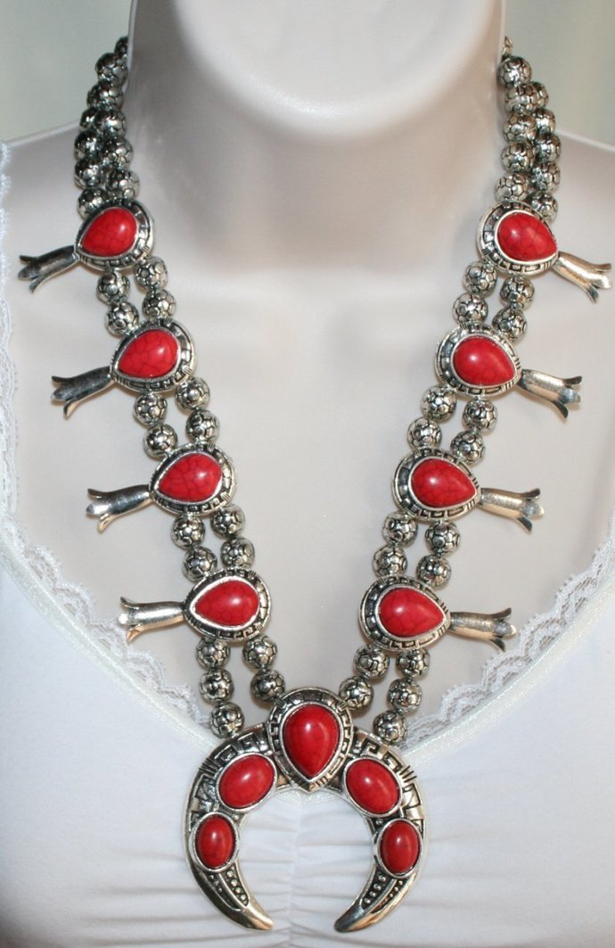 Squash Blossom Red Turquoise Cowgirl Tribal Style Necklace and Earrings