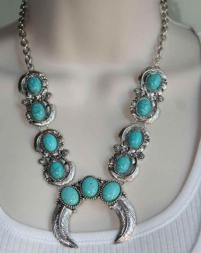 Southwestern Cowgirl Turquoise Blue Squash Blossom Tibetan Silver Necklace, Faux