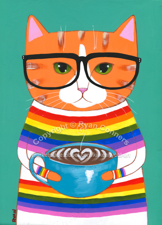 Ginger Nerdy Coffee Cat Original Cat Folk Art Painting