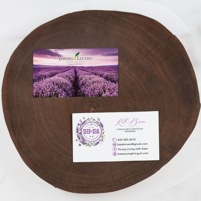 Lavender Young Living Business Card, Seed to Seal Business Cards, Essential Oil