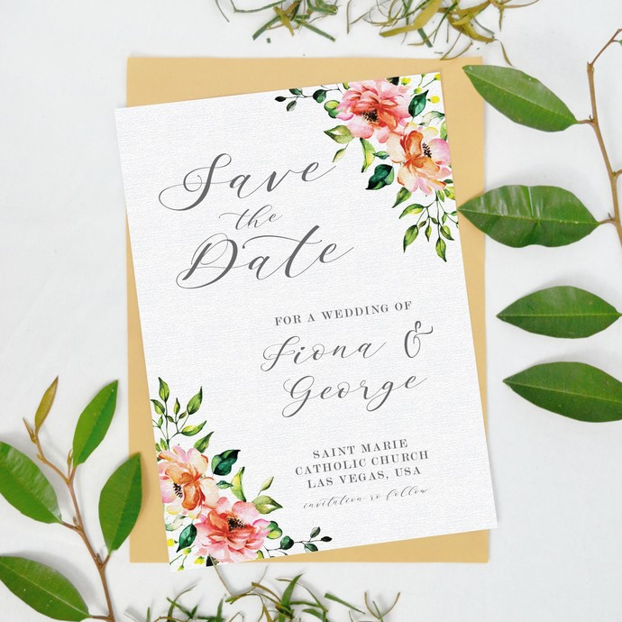 Save the Date Template Rustic flower, Printable Wedding Date Card 08
