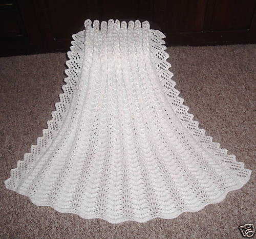 Hand Knit Stunning Baby Shawl