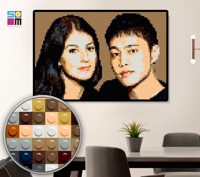 Personalized Mosaic Portrait 77x51 cm/ Wedding DIY Gift / Engagement Gift for