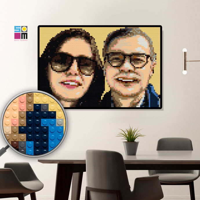 Custom Mosaic Puzzle Portrait / First Anniversary / Gift for Couple — Photo