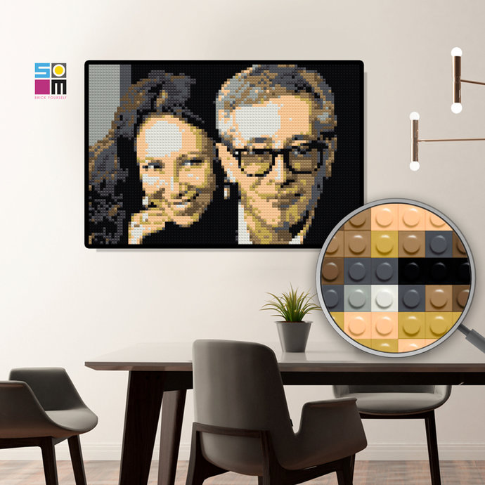 Mosaic Aluminum Anniversary Gift Idea / Bricked Couple's Portrait / Gift for