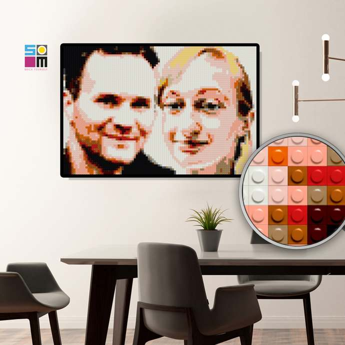 Personalized Mosaic Portrait / Wedding DIY Bricked Gift / Engagement Gift for
