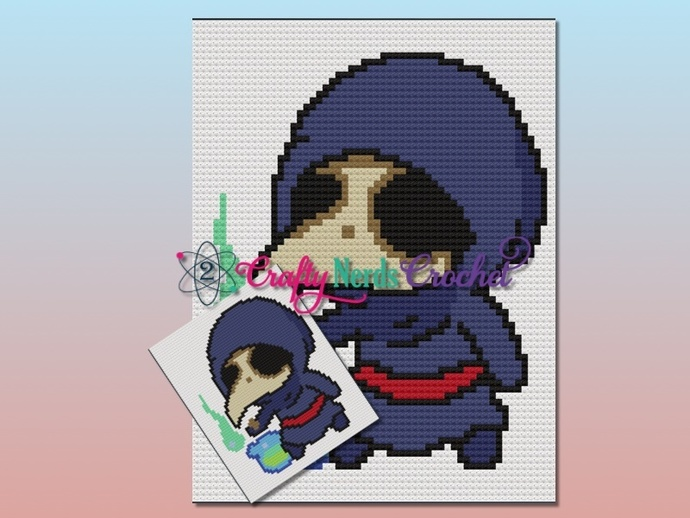 Chibi Style Plague Doctor Pattern Graph with C2C written