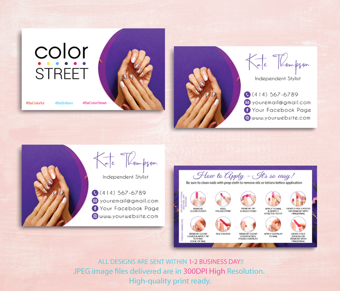 COLOR STREET BUSINESS CARDS, PERSONALIZED COLOR STREET APPLICATION CARDS CL38