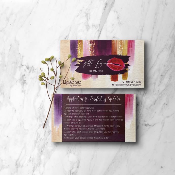 Glitter Lipsense Business Cards, LipSense Senegence Card, LipSense LS08