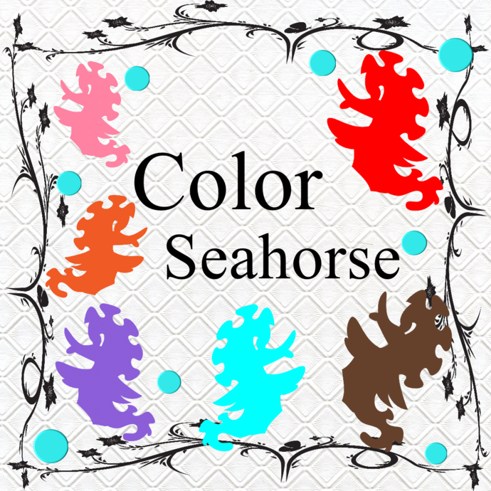 Color Seahorse 1-Digital Clipart-Art Clip-Gift Cards-Banner-Gift Tag-Jewelry-T