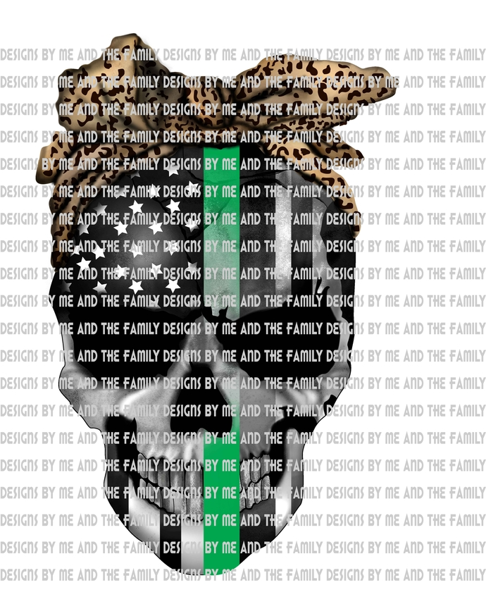Green line skull with cheetah print, represents federal agents such as Border