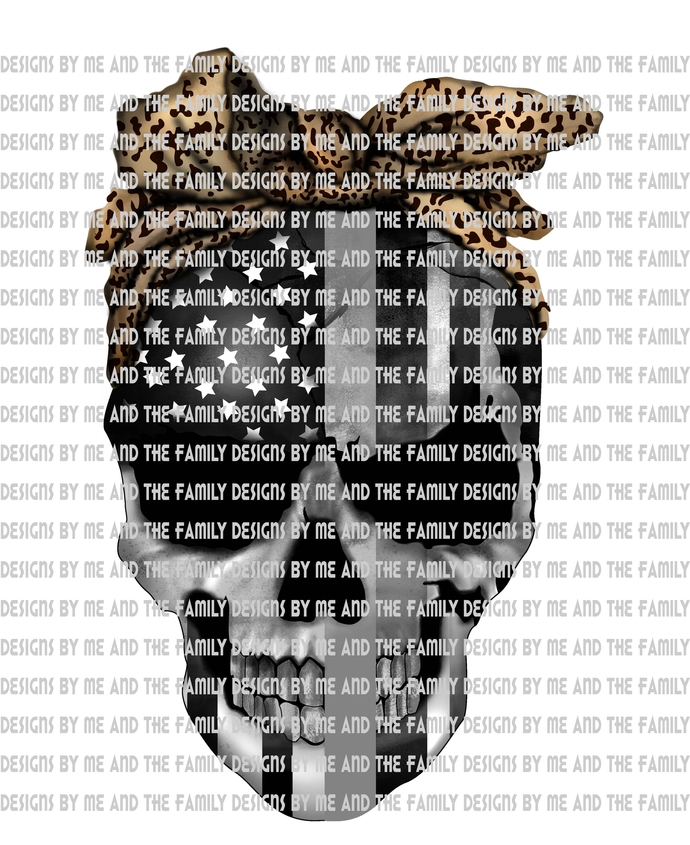 Silver line skull with cheetah print, represents respect for Correctional