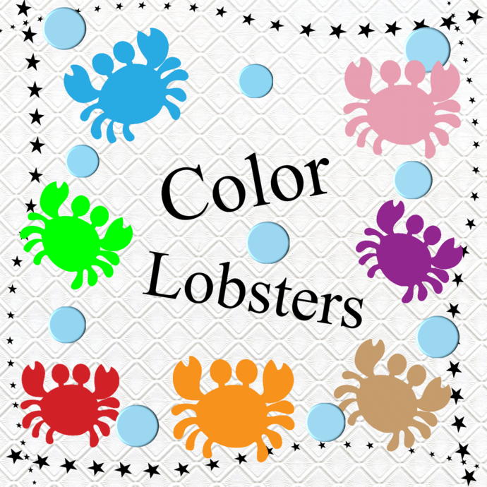 Color Lobsters 1-Digital Clipart-Art Clip-Gift Cards-Banner-Gift Tag-Jewelry-T