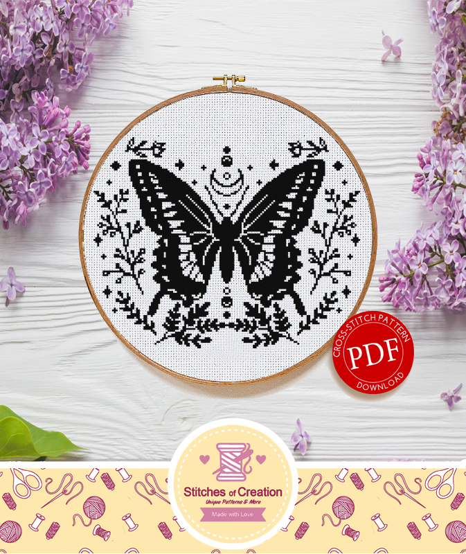 Celestial Butterfly | Digital Download | Witch Cross Stitch Pattern  |