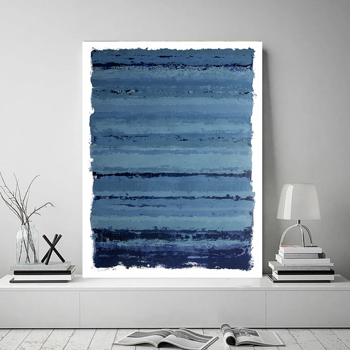 Blue and Navy Abstract Art, Modern Downloadable Print, Large Size Wall Art,