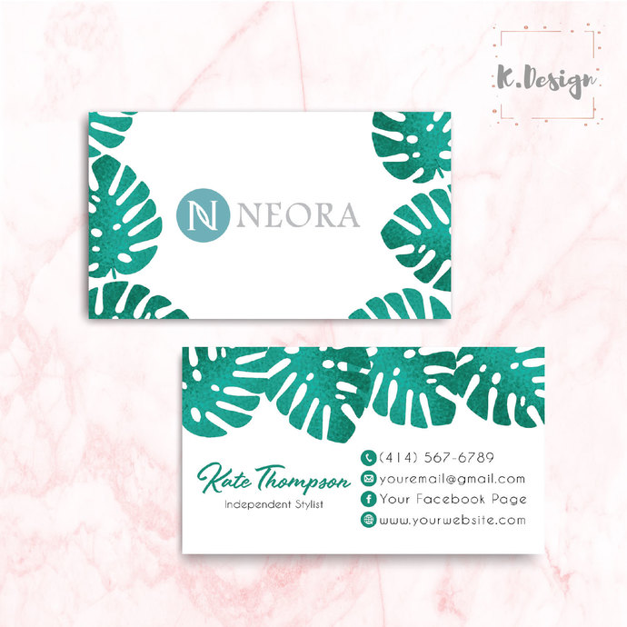 Greenery Leaves Neora Business Cards, Personalized Neora Template NE13