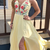 Yellow Long Prom Dress, Prom Dress with Floral Embroidery and Side Slit